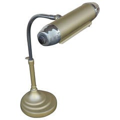 Enamel and Chromium Streamline Bankers Desk Lamp