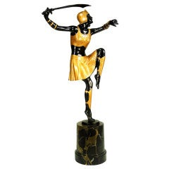 1920s Art Deco Bronze Warrior Woman Statue by Josef Lorenzl