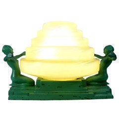 Evocative Art Deco Frankart Figural Lamp with Stepped Shade