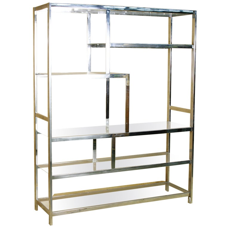 Milo Baughman Geometric Large Etagere Vitrine In Chrome
