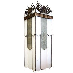 Large Art Deco Geometric Leaded Glass Chandelier with Scrolling Top