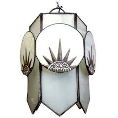 "Art Deco Six-Sided Glass ""Sunburst"" Chandelier  **Saturday Sale**"