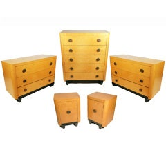 Art Deco Bedroom Set in Bird's-Eye Maple