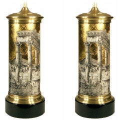 Piero Fornasetti Table Lamps with Classical Ruins