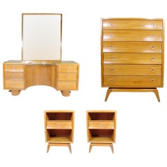 Rare Paul Frankl Four-Piece Bedroom Set for Brown Saltman