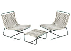 Walter Lamb Outdoor/Patio Sled Chairs with Ottoman for Brown-Jordan