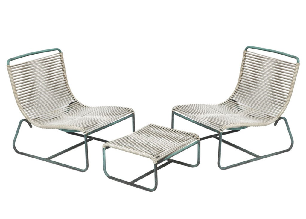 Walter Lamb Outdoor Patio Sled Chairs With Ottoman For Brown Jordan At 1stdibs