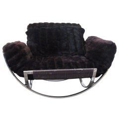 Milo Baughman Chrome Lounge Chair and Ottoman in Faux Fur
