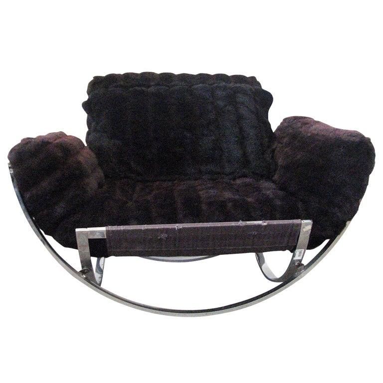 Milo Baughman Chrome Lounge Chair And Ottoman In Faux Fur
