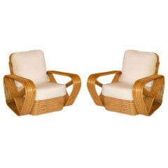 Paul Frankl Inspired Square Pretzel Stacked Rattan Armchairs
