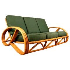 Restored Paul Frankl Style Round Pretzel Arm Rattan Sofa