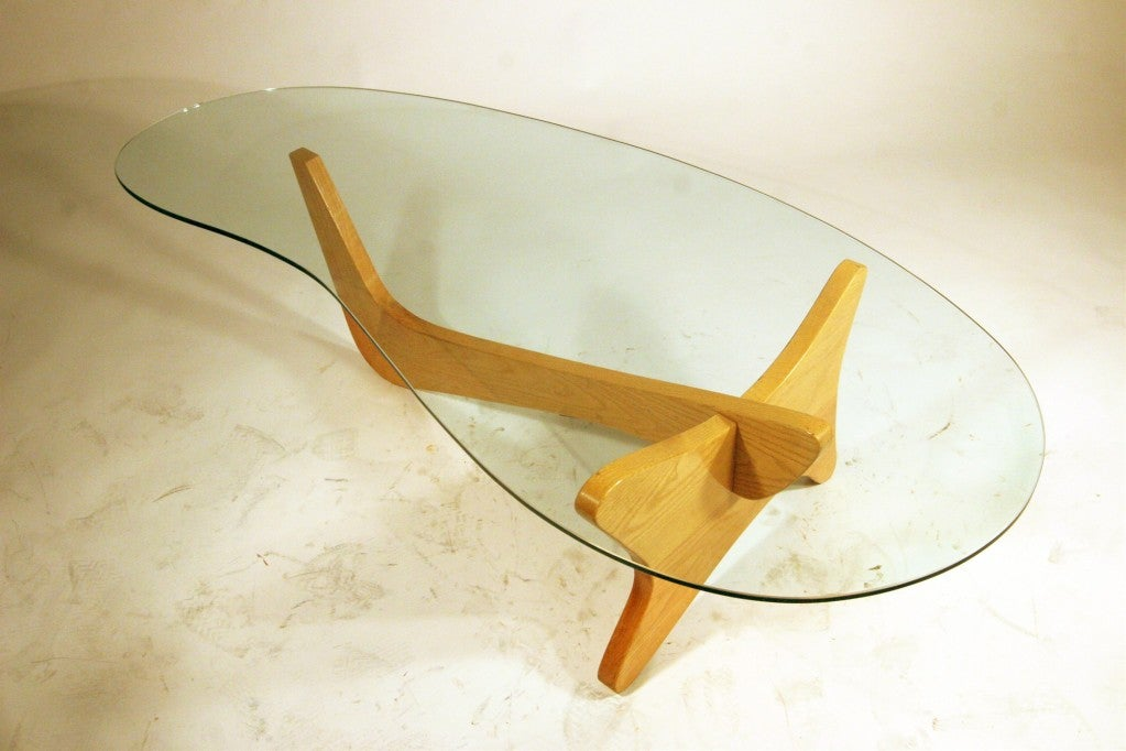 Mid Century Modern Noguchi Style Biomorphic Glass Coffee Table 2