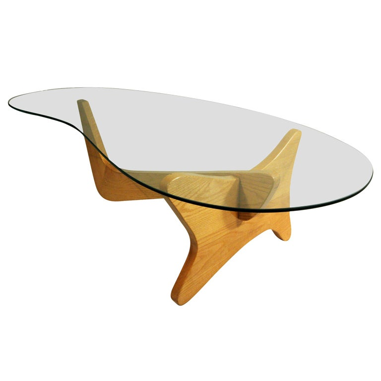 Mid Century Modern Noguchi Style Biomorphic Glass Coffee Table 1