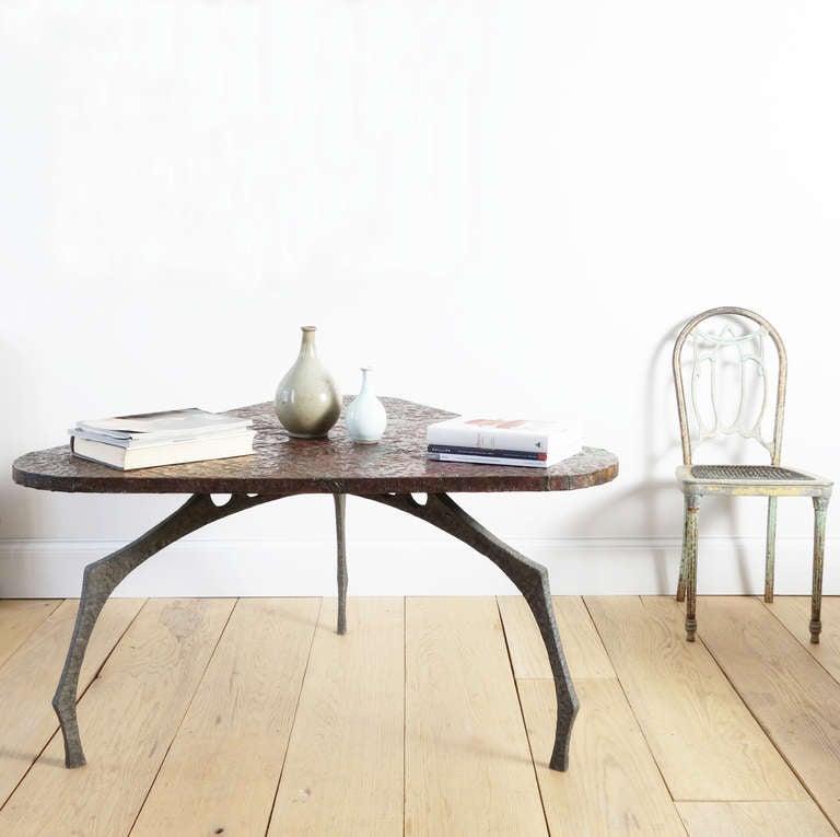 20th Century Brutalist Sculptural Hammered Copper Center Table For Sale