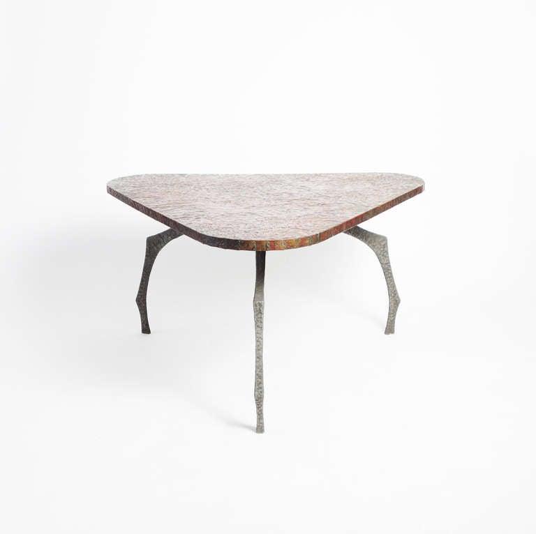 Brutalist Sculptural Hammered Copper Center Table For Sale 3