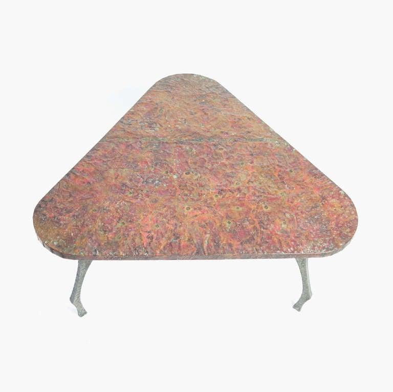 Brutalist Sculptural Hammered Copper Center Table For Sale 2