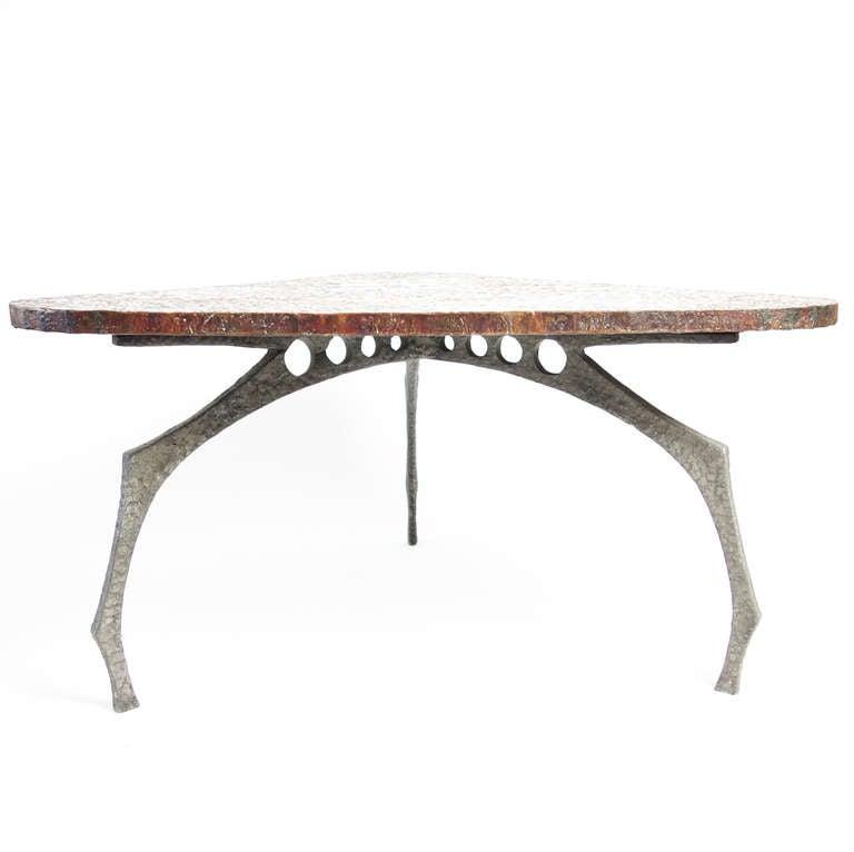 Brutalist Sculptural Hammered Copper Center Table For Sale 1