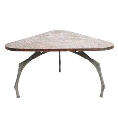 Brutalist Sculptural Hammered Copper Center Table