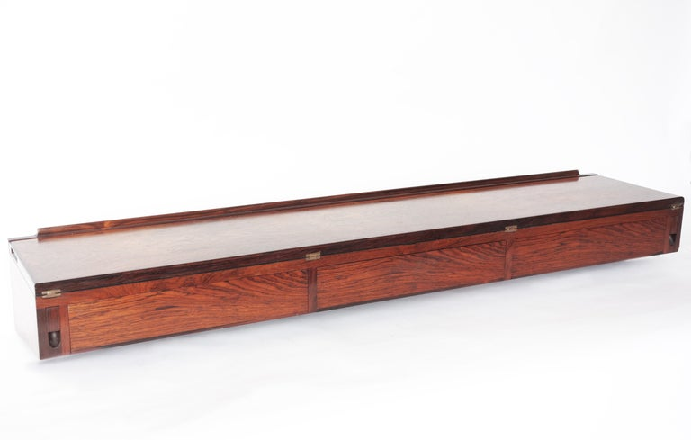 Wall Mounted Rosewood Three Drawer Flip Top Desk By Arne