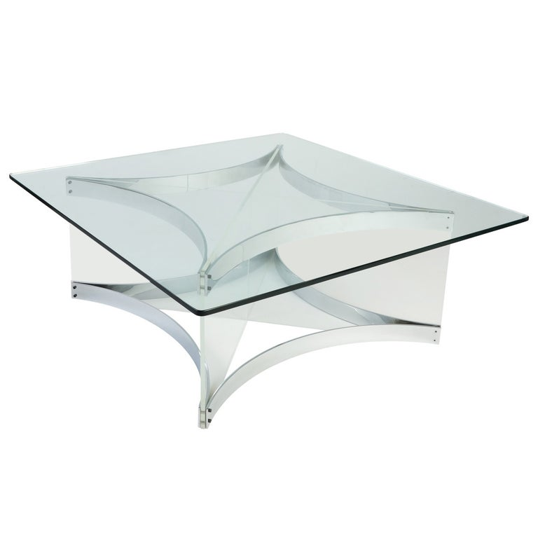 Lucite and Chrome Coffee Table by Alessandro Albrizzi For Sale