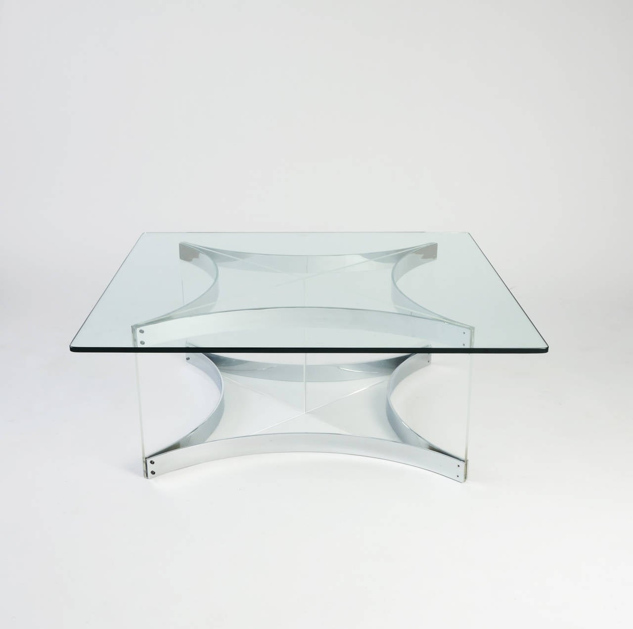 Italian Lucite and Chrome Coffee Table by Alessandro Albrizzi For Sale