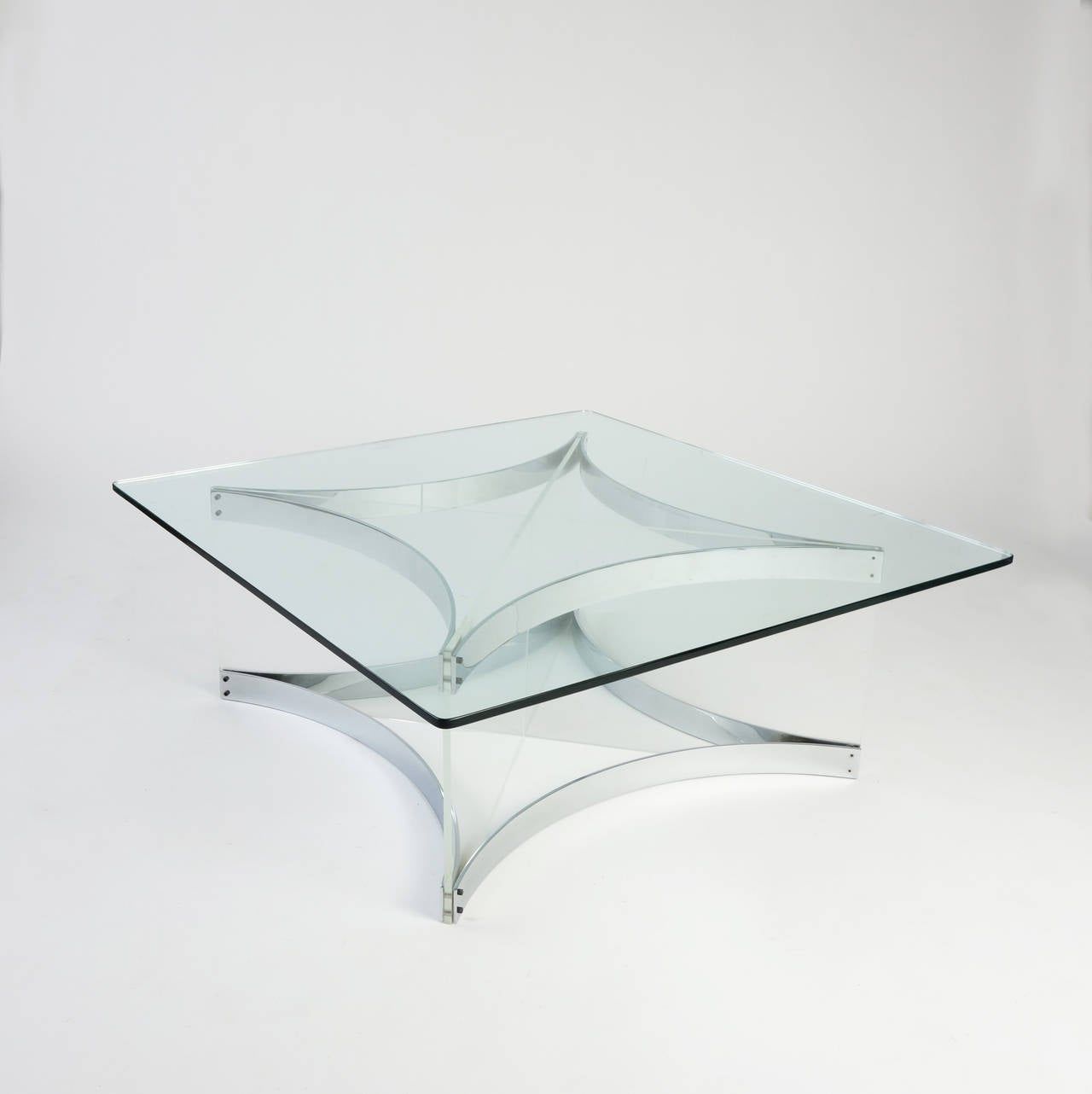 Lucite and Chrome Coffee Table by Alessandro Albrizzi For Sale at