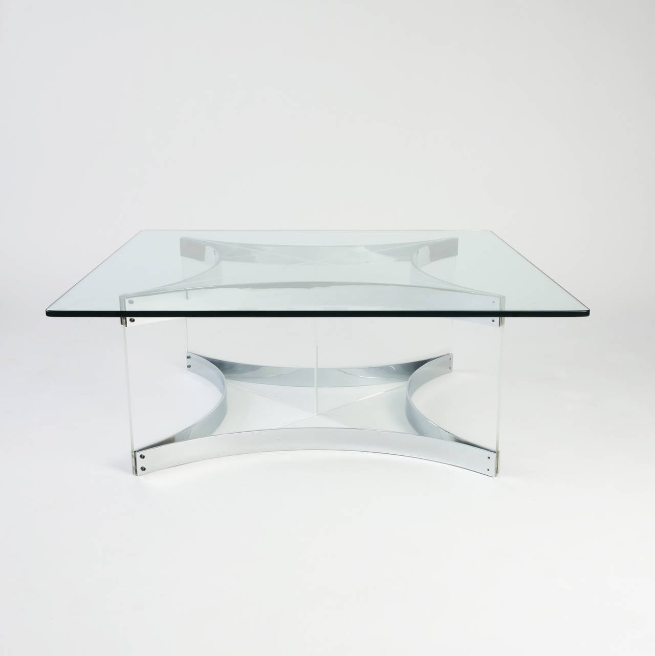 20th Century Lucite and Chrome Coffee Table by Alessandro Albrizzi For Sale