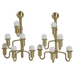 Unusual Pair of Modern Swedish Brass Candelabrum