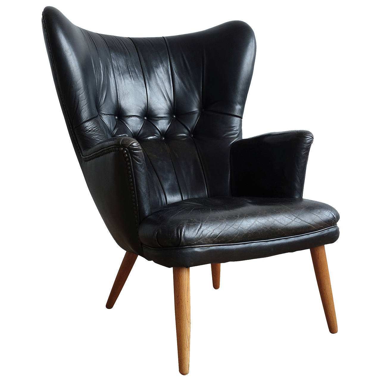 Fantastic Danish Leather Wingback Chair In The Manner Of