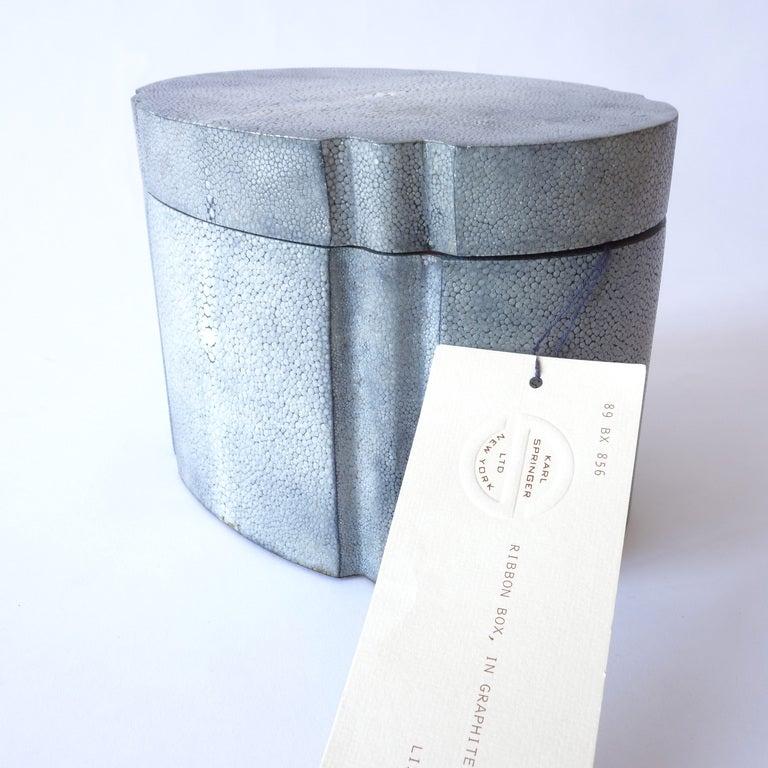 20th Century Karl Springer Graphite Shagreen Ribbon Box
