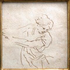Stefano Della Bella Pen and Ink Figure Study