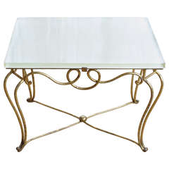 Gilt Iron and Glass Coffee Table Attributed to René Prou