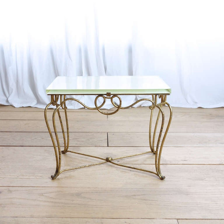 Gilt Iron And Glass Coffee Table Attributed To Rene Prou At 1stdibs