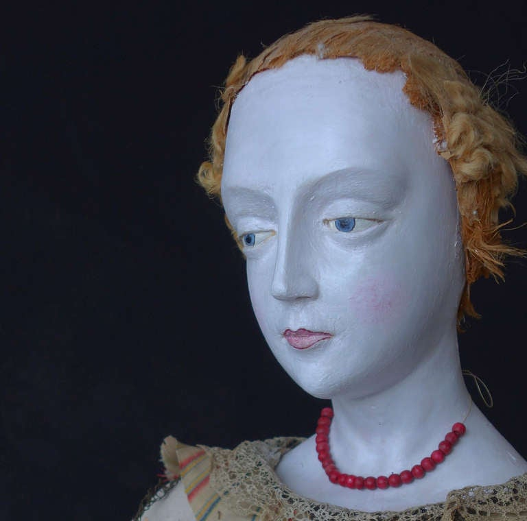 Large French Polychrome Santo with Original Costume In Distressed Condition For Sale In New York, NY