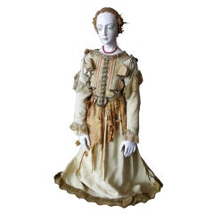 Large French Polychrome Santo with Original Costume