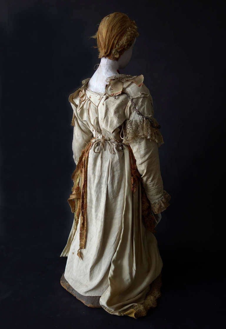19th Century Large French Polychrome Santo with Original Costume For Sale