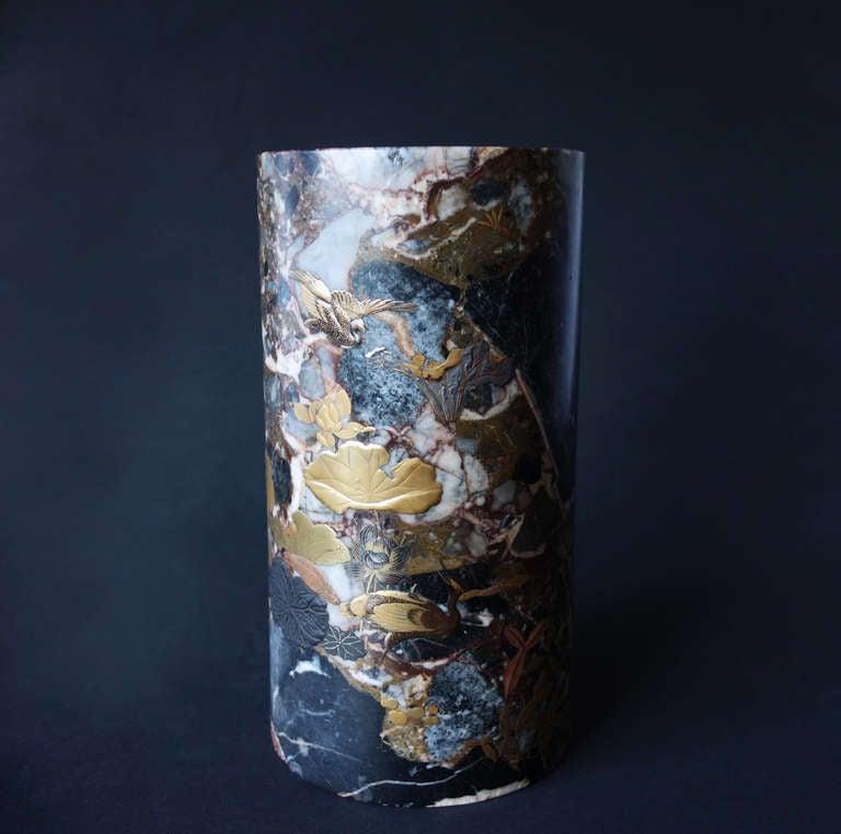 Uncommon Japanese Marble Maki-E Vase 2