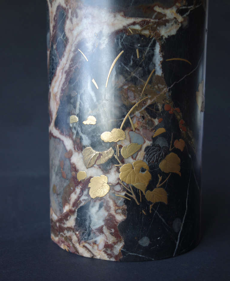 Uncommon Japanese Marble Maki-E Vase 5