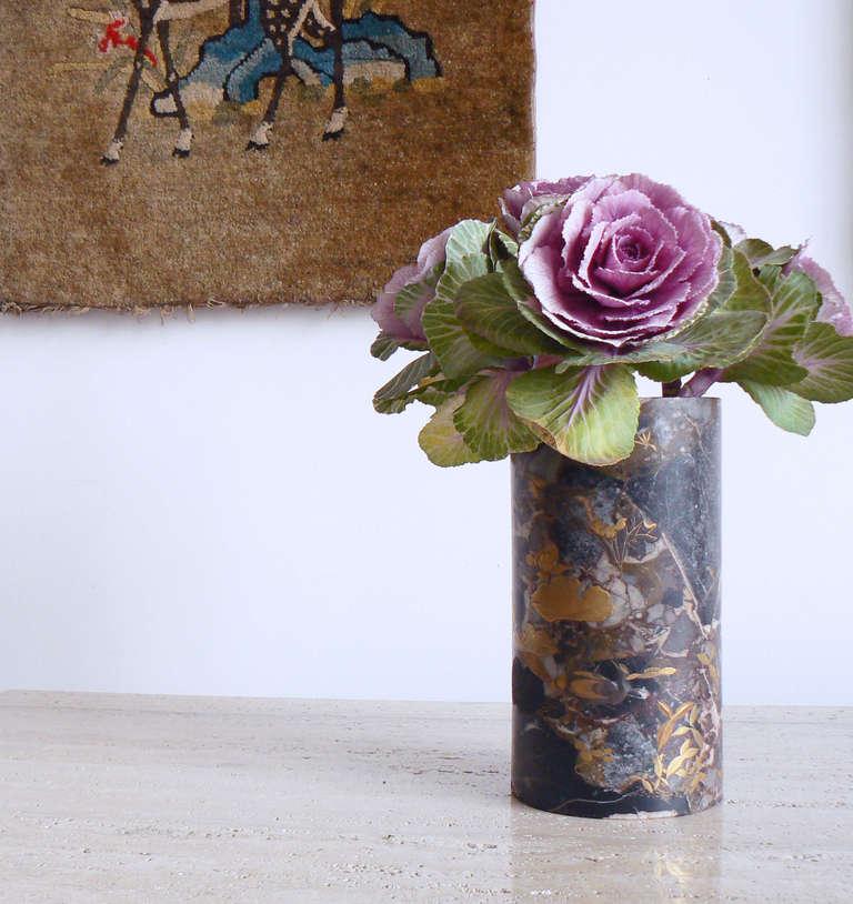 Uncommon Japanese Marble Maki-E Vase 3