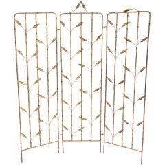 Gilt Iron Faux Bamboo Folding Screen