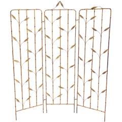 Gilt Iron Faux Bamboo Folding Screen
