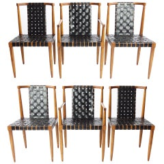 Set of 6 Leather Strap Dining Chairs by Tomlinson