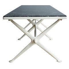 Marble and Painted Metal Cocktail Table