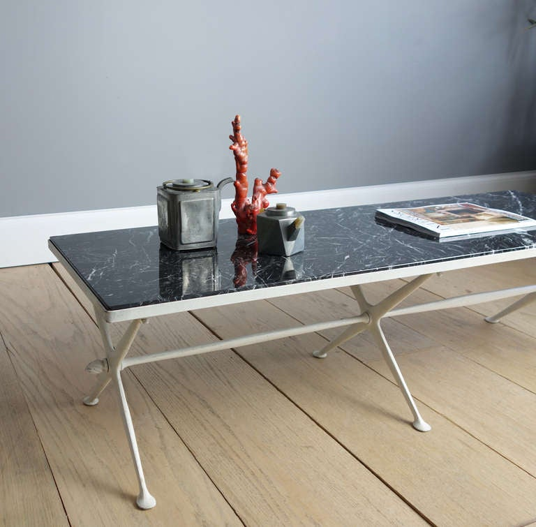 Marble And Painted Metal Cocktail Table At 1stdibs