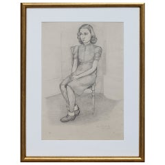 Drawing of a Young Girl by Sven Ljungberg