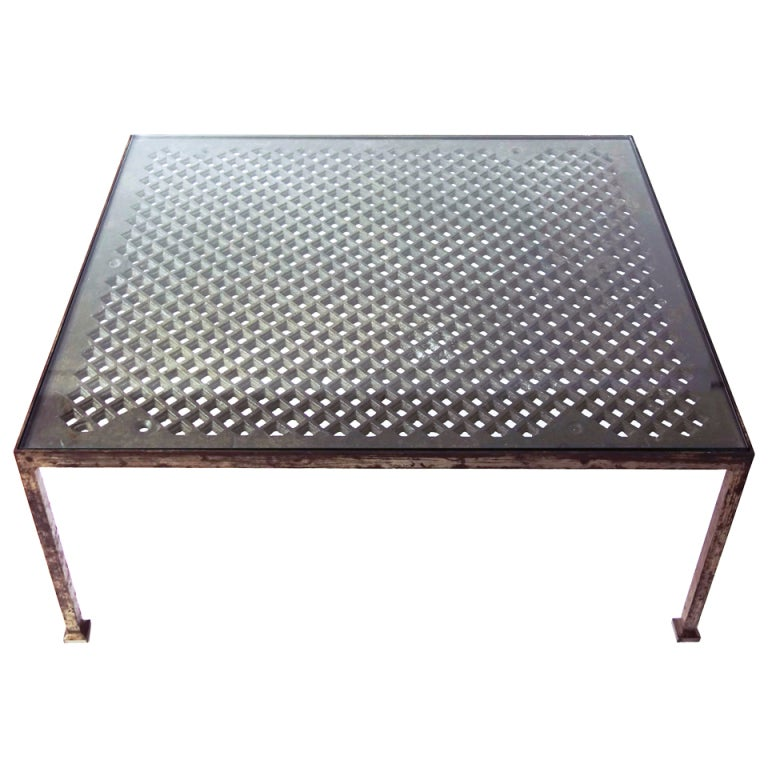 Large Industrial Iron And Glass Coffee Table At 1stdibs