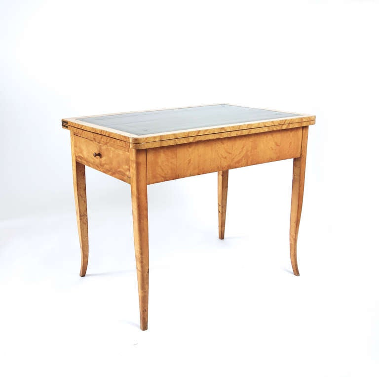 Antique Leather Sofa Northern Ireland: Northern European Birch And Leather Games Table At 1stdibs