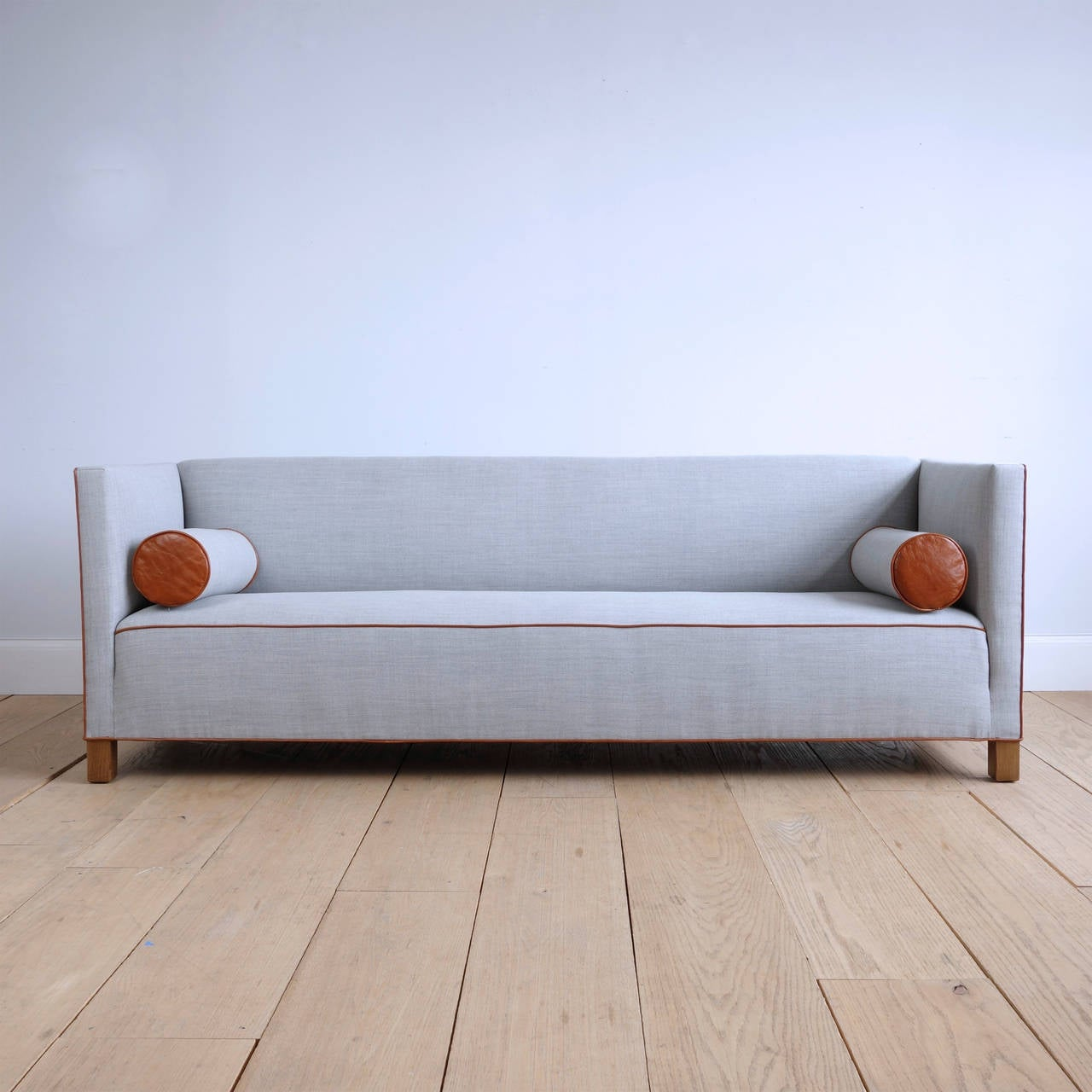 Long danish 1930s sofa upholstered in wool and leather at for Scandinavian sofa