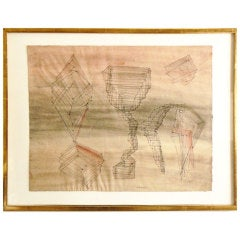 """Dorothy Dehner Watercolor """"Maiden Aunts"""""""