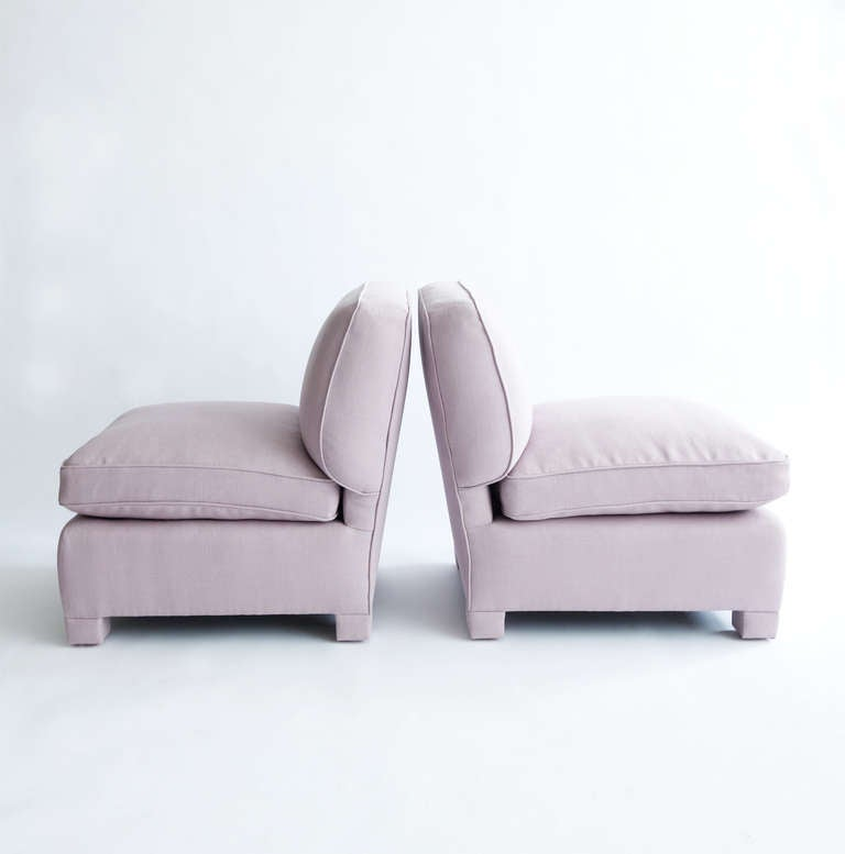 Pair of Slipper Chairs Attributed to Billy Baldwin In Excellent Condition For Sale In New York, NY